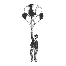 Old Fashioned Gentleman Flying On Air Balloons Sketch Engraving Vector Illustration. Scratch Board Style Imitation. Black And White Hand Drawn Image.
