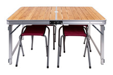 Folding Picnic Table, There Are Chairs Under The Table, On A White Background