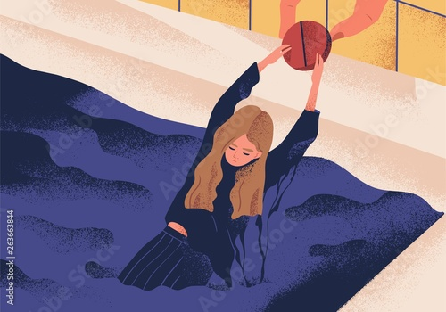 Young depressed woman drowning in pool and holding on to large pill Canvas Print