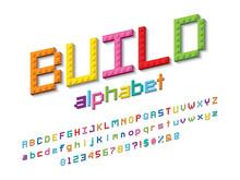 Vector Alphabet Design Made Of Colorful Blocks