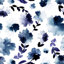 Loose Florals In Blue And Indigo. Seamless Watercolor Pattern.