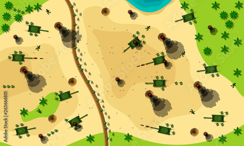 Leinwand Poster Battlefield cartoon vector illustration top view concept.