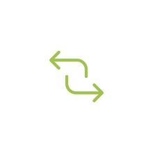 Refresh, Repeat, Process Icon . Two Green Opposite Arrows Isolated On White.