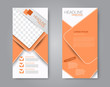Flyer template. Vectical banner design. Modern abstract two side brochure background. Vector illustration. Orange color.