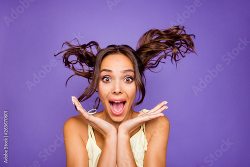 Closeup photo portrait of shocked surprised amazed astonished funny funky she he Tableau sur Toile