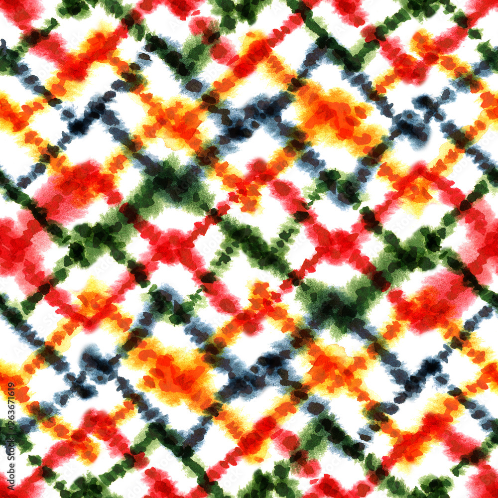 Abstract colorful geometric seamless watercolor pattern