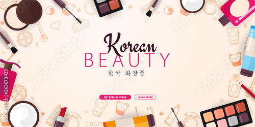 Korean Flat Cosmetics K Beauty Banner With Hand Draw Doodle Background Skincare And Makeup Vector Illustration Buy This Stock Vector And Explore Similar Vectors At Adobe Stock Adobe Stock