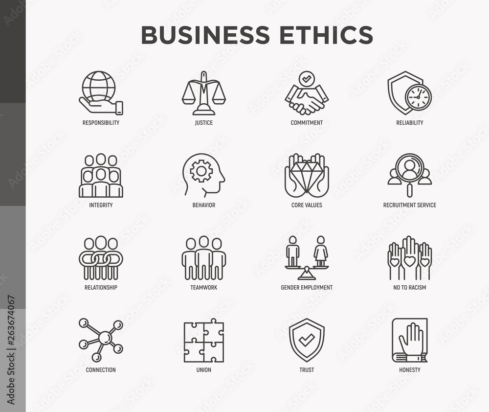 Fototapeta Business ethics thin line icons set: connection, union, trust, honesty, responsibility, justice, commitment, no to racism, teamwork, gender employment, core values. Modern vector illustration.