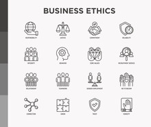 Business Ethics Thin Line Icon...