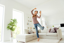 Full Length Body Size Photo Beautiful She Her Model Lady Hands Telephone Read Words Earflaps Funky Dancing Wear Jeans Denim Striped Pullover Clothes Comfort Flat Couch Divan House Living Room Indoors