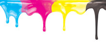 CMYK Ink Color Paint Dripping ...