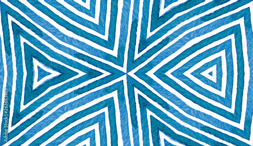 Fototapety, obrazy: Blue Geometric Watercolor. Cute Seamless Pattern.