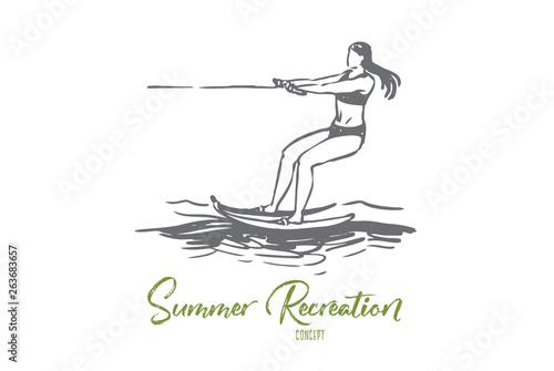 Water skiing, sea, summer, water, activity concept Tapéta, Fotótapéta