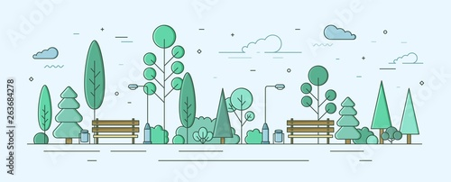 Obraz City park or garden with trees, bushes and street facilities. Outdoor recreational area or zone. Creative colorful vector illustration in modern linear style for urban public location planning. - fototapety do salonu