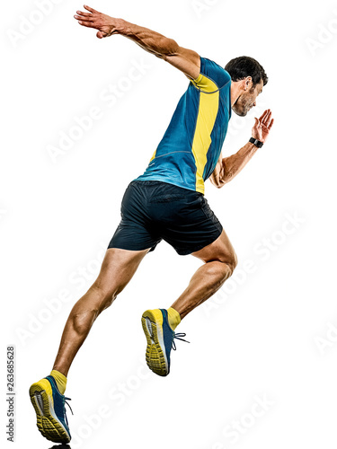Poster Jogging one caucasian handsome mature man running runner jogging jogger isolated on white background