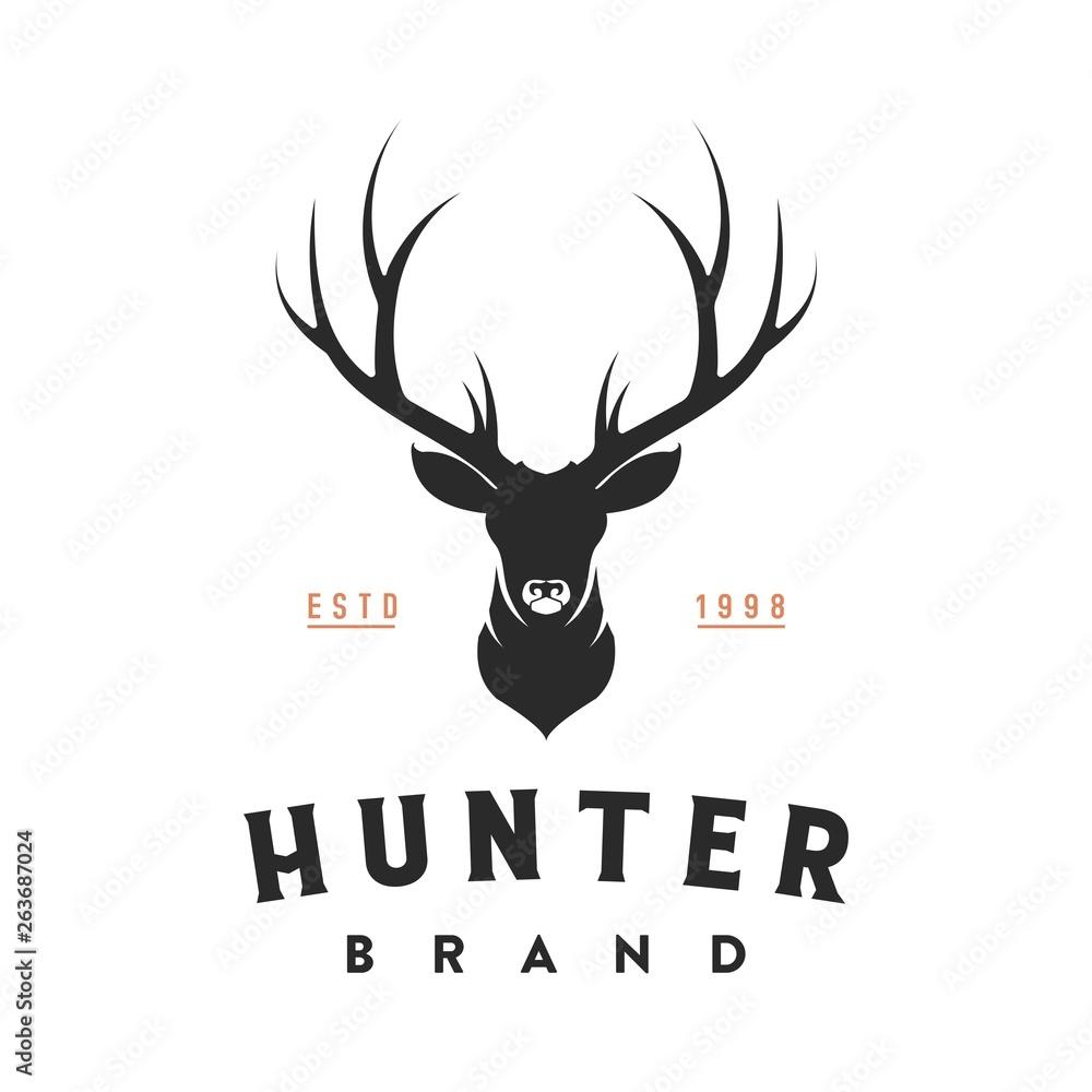 Fototapeta vintage deer head logo illustration