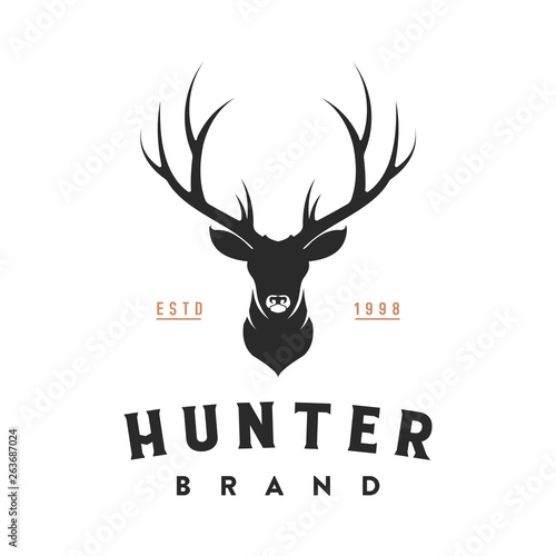 vintage deer head logo illustration Fototapet