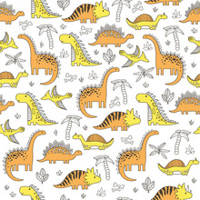 Background With Dinosaurs. Adorable Seamless Pattern With Funny Dinosaurs In Cartoon.