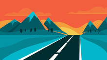 Highway And Evening Landscape. Mountain On The Background