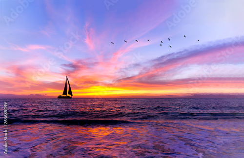Slika na platnu Ocean Sunset Sailboat
