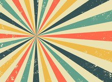 Old Retro Background With Rays And Explosion Imitation. Vintage Starburst Pattern With Bristle Texture. Circus Style. Flat Vector