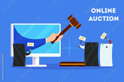 Online auction concept. Taking action in auction through device Canvas Print