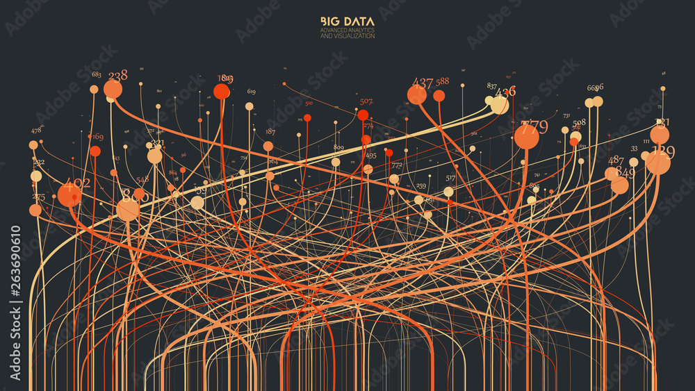 Fototapety, obrazy: Vector abstract colorful big data information sorting visualization. Social network, financial analysis of complex databases. Visual information complexity clarification. Intricate data graphic
