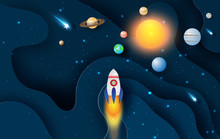 Illustration Of Abstract Curve Wave With Launch Rocket Startup For Solar System Circle.Galaxy Space Exploring With Satellite And Planets Concept On Dark Night Background Vector.paper Craft And Cut.