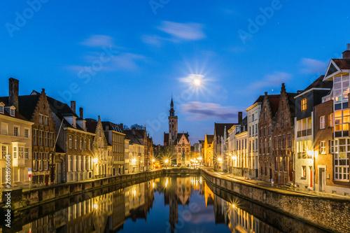 Wall Murals Bridges Spiegelrei canal and Jan Van Eyck Square In Brugge, Belgium