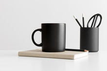 Black Mug Mockup With Workspac...