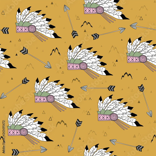 Indian seamless pattern. Background in the style of boho with Native American headdresses