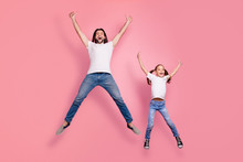 Full Length Body Size Photo Funny She Her Little Lady He Him His Daddy Dad Jump Air Star Shape Figure Amazed Excited Scream Shout Yell Wear Casual White T-shirts Denim Jeans Isolated Pink Background