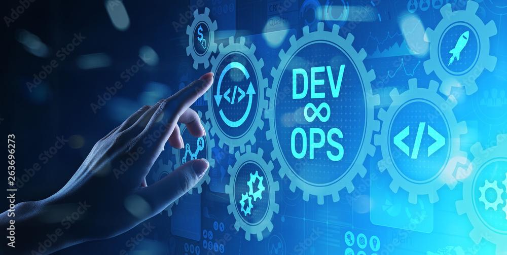 Fototapety, obrazy: DevOps Agile development concept on virtual screen.