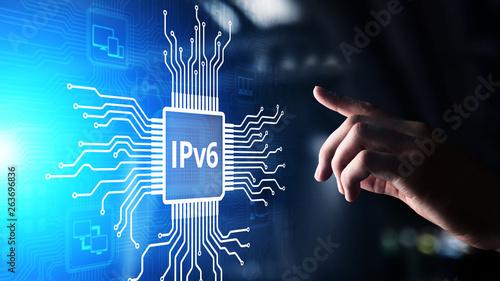 Fotomural  Ipv6 network protocol standard internet communication concept on virtual screen