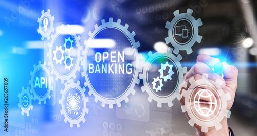 Fototapeta Open banking financial technology fintech concept on virtual screen. obraz