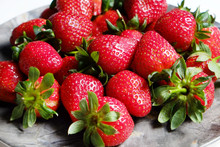 Ripe Local Produce Organic Strawberry. Heap Of Red Berries On Plate. Fresh Healthy Vegan Dietary Food For Spring Detox. Fruits Background, Top View. Clean Eating Concept.