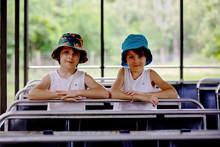 Preschool Children, Boy Brothers, Sitting In A Safari Trunk, Enjoying Day Trip