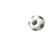 Fototapeta Sport - soccer ball scores watercolor illustration, black and white color