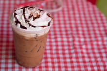 Chocolate Sauce And Whipped Cream On Top Iced Drink