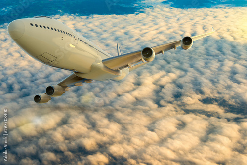 Fototapeta 3D rendering of a commercial airplane on flight over the clouds obraz na płótnie
