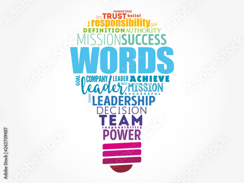 Stampa su Tela  WORDS light bulb word cloud collage, business concept background