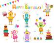 Cute Birthday Robot Character Set