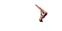 Female Athlete Doing A Complicated Exciting Jump Trick On White Background. Isolated Girl Perform Stunt In Bright Sports Clothes