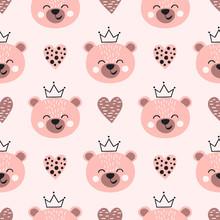Seamless Cute Bear Princess Pattern. Kids Print.