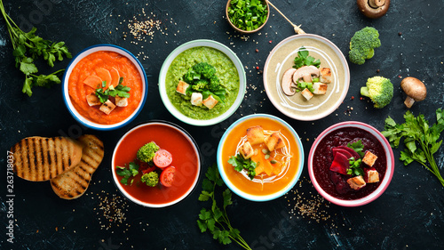 Assortment of colored vegetable cream soups Tablou Canvas