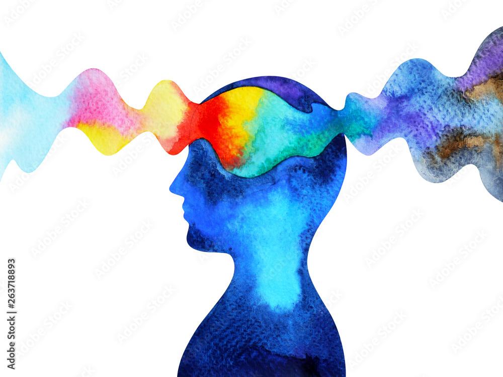 Fototapeta human head chakra power inspiration abstract thinking watercolor painting illustration design hand drawn