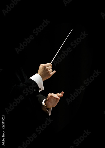 Hands of conductor on a black background Fototapet