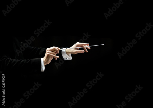 Fotografia  Hands of conductor on a black background
