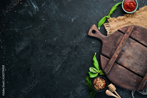 The background of cooking. Top view. Banner Free space for your text. Rustic style.