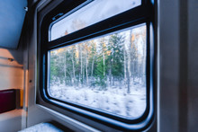 View Of The Window Of A Moving Passenger Train.